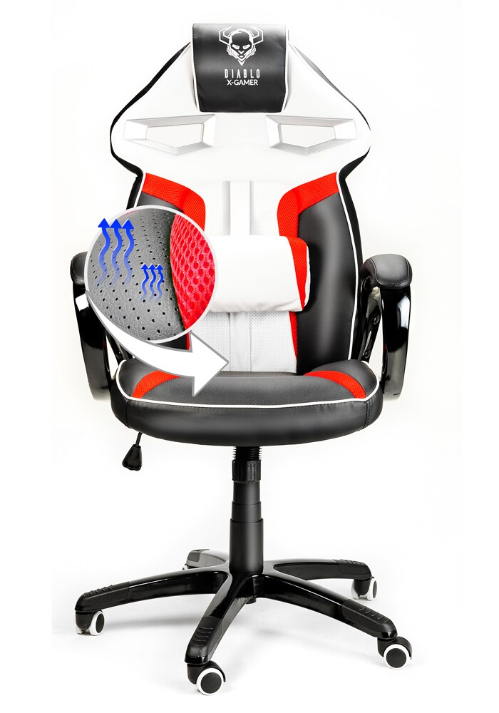 Diablo X Gamer Plus Gaming Chair Black White Red G2acom