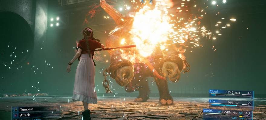 Party fighting in Final Fantasy 7 2020