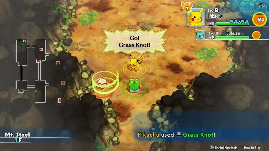Gameplay in Pokemon Mystery Dungeon