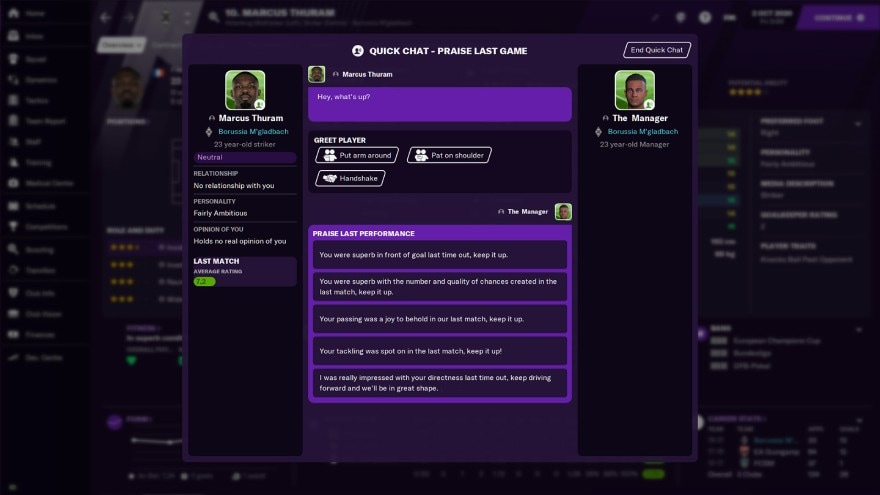 Football Manager 2021 chat